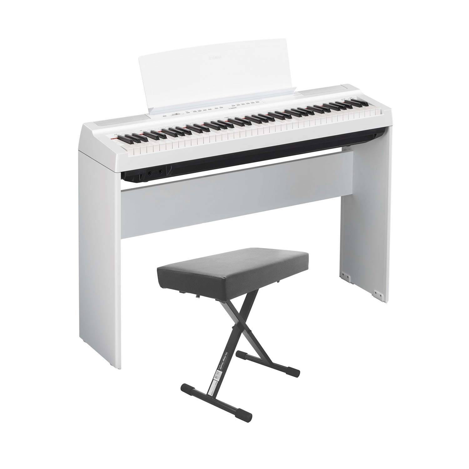 Yamaha P121 73-Key Weighted Action Digital Piano - White with Matching L121 White Furniture Stand and Bench by Yamaha Bundle (Image #1)