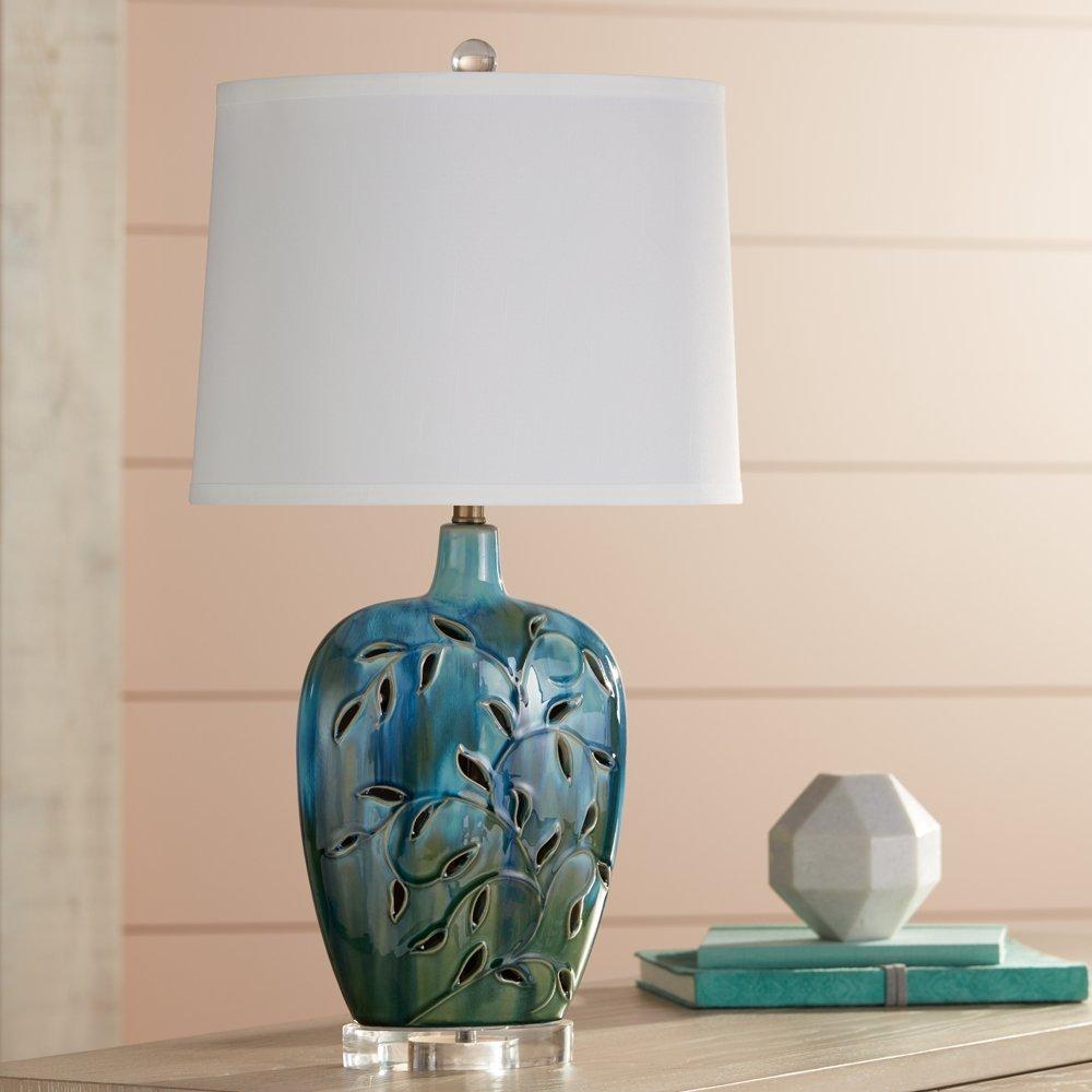 Devan Vines Blue Ceramic Table Lamp with Night Light