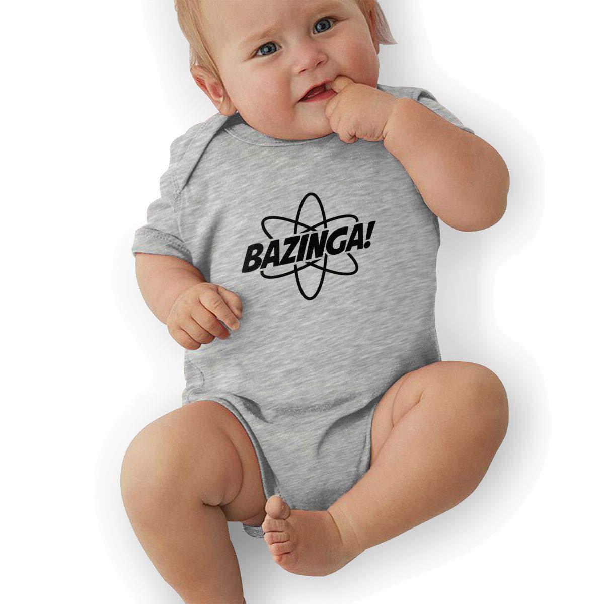 Manlee Bazinga Newborn Infant Toddler Baby Girls Boys Bodysuit Short Sleeve 0-24 MonthsGray 18M
