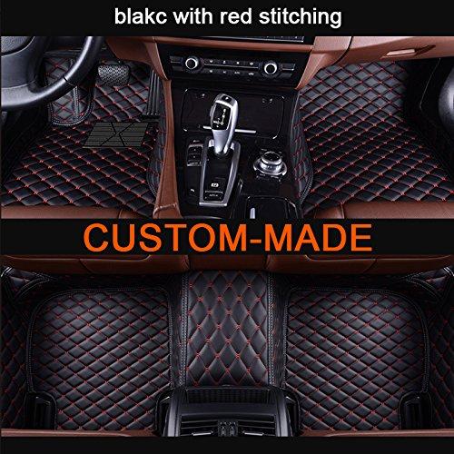 Veeleo 6 Colors Car Floor Mat Porsche Macan 2014-2018 Custom-Fit All Weather Car Carpet (Black &red)