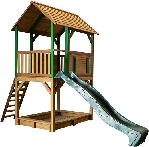 Beauty.Scouts Tabata - Casa de Juegos de Madera con Porche, Escalera, tobogán, Caja de Arena, 172 x 370 x 291 cm, Madera de Cedro: Amazon.es: Jardín
