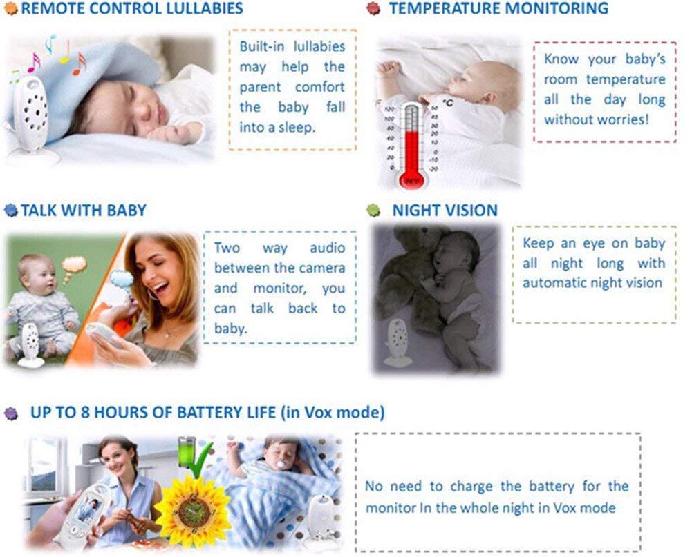 Ecoute-B/éb/é 2 LCD Ecran Vid/éo Babyphone Nocturne Vision Baby Monitor B/éb/é Moniteur Temp/érature Surveillance Vid/éosurveillance 2.4GHz Bidirectionnelle Deux Voies Sans Fil S/écurit/é Cam/éra