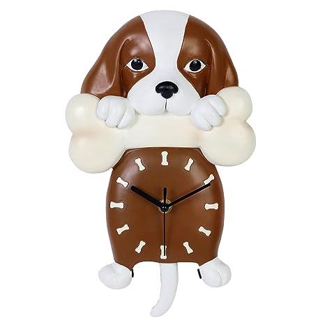 Giftgarden Reloj Analógico con Perrito Lindo Perro en Forma de Relojes de Péndulo