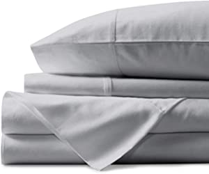 Mayfair Linen 100% Egyptian Cotton Sheets, Silver King Sheets Set, 800 Thread Count Long Staple Cotton, Sateen Weave for Soft and Silky Feel