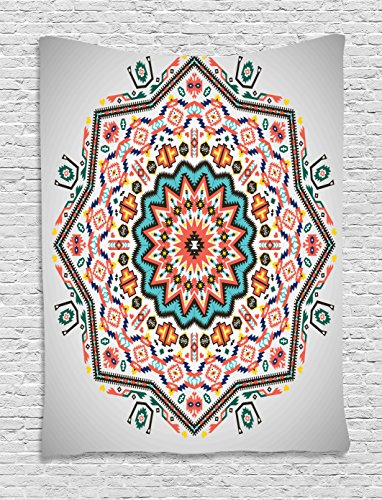 Ambesonne Tribal Tapestry, Abstract Aztec Style Kaleidoscope Themed Boho Ethnic Sun Pattern Art Print, Wall Hanging for Bedroom Living Room Dorm, 40 W X 60 L Inches, Turquoise Coral ()