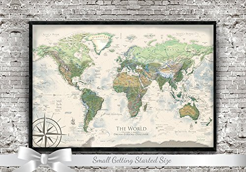 World Map Push Pin - Personalized Push Pin Travel Map - The Nautilus World Map - Small Edition by GeoJango