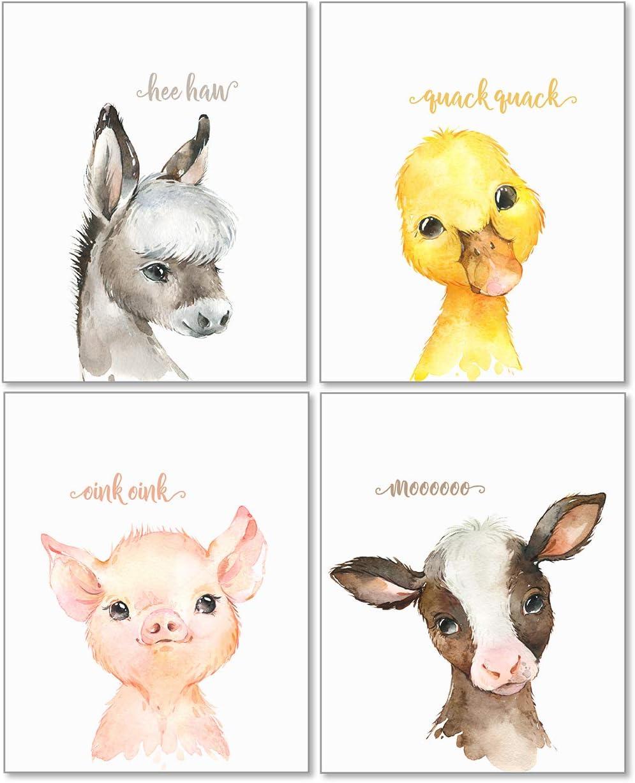 Confetti Fox Baby Farm Animals Nursery Decor Wall Art - 8x10 Unframed Set of 4 Prints - Cow Pig Donkey Duck - Boy Girl Farmhouse Barnyard Babies