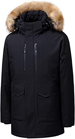 Wilngo Mens Winter Faux Fur Collar Warm Hooded Quilted Padded Coat Down Puffer Jacket