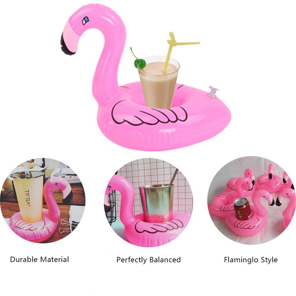 Yuccer Flamenco Posavasos Flotador, Inflable Bebidas Copa Piscina Flotadores Bar Coasters Dispositivos Juguetes de Baño para Niños y Adultos (6 Pack): ...