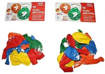 Everts 48951 - Globos para cumpleaños de 9 años (2 bolsas de ...