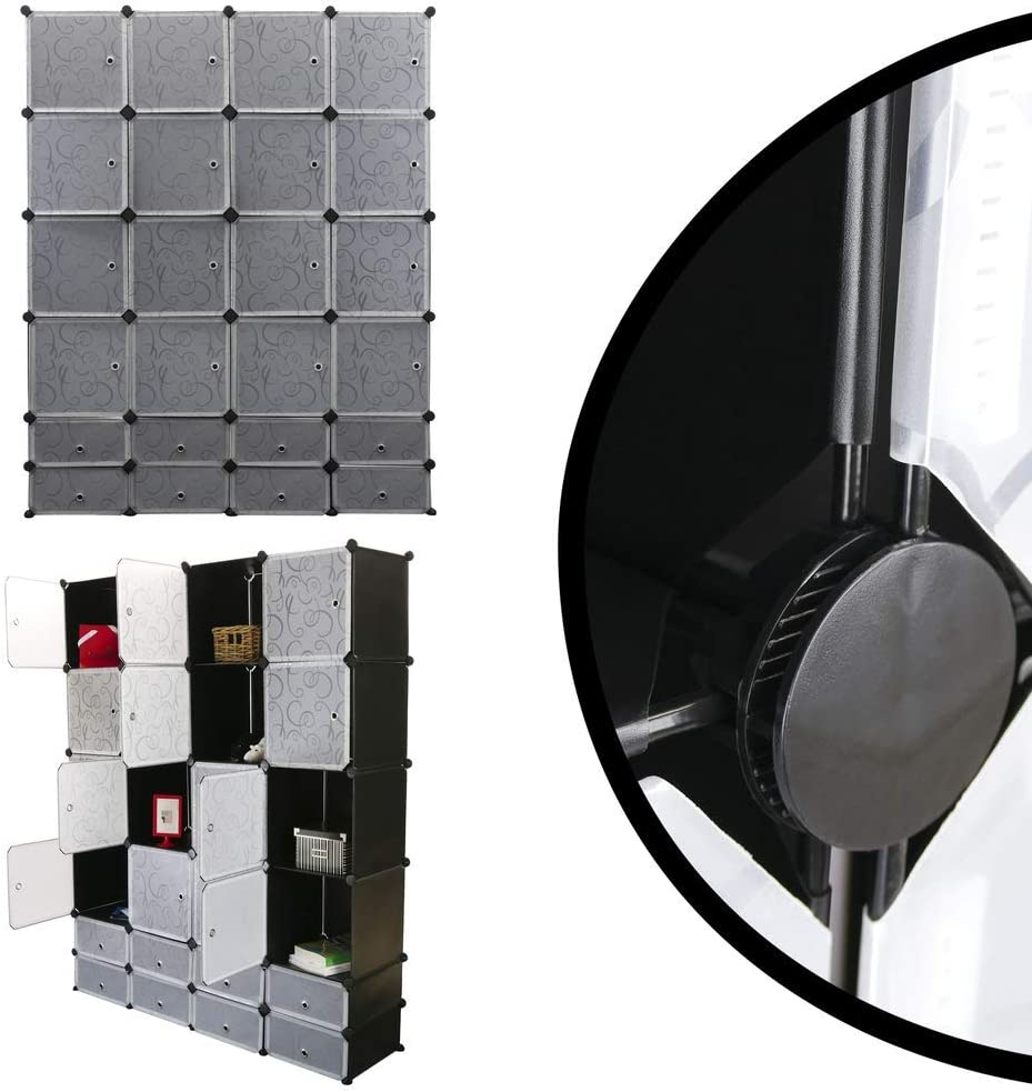 Armario Organizador Modular Estanter/ías de 24 Cubos de 35x35cm 17x35cm pl/ástico Negro con Puerta y d PrimeMatik