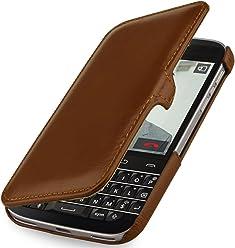 StilGut Book Type avec Clip, Housse en Cuir avec Fonction Marche/arrêt pour Blackberry Classic Q20, en Cognac