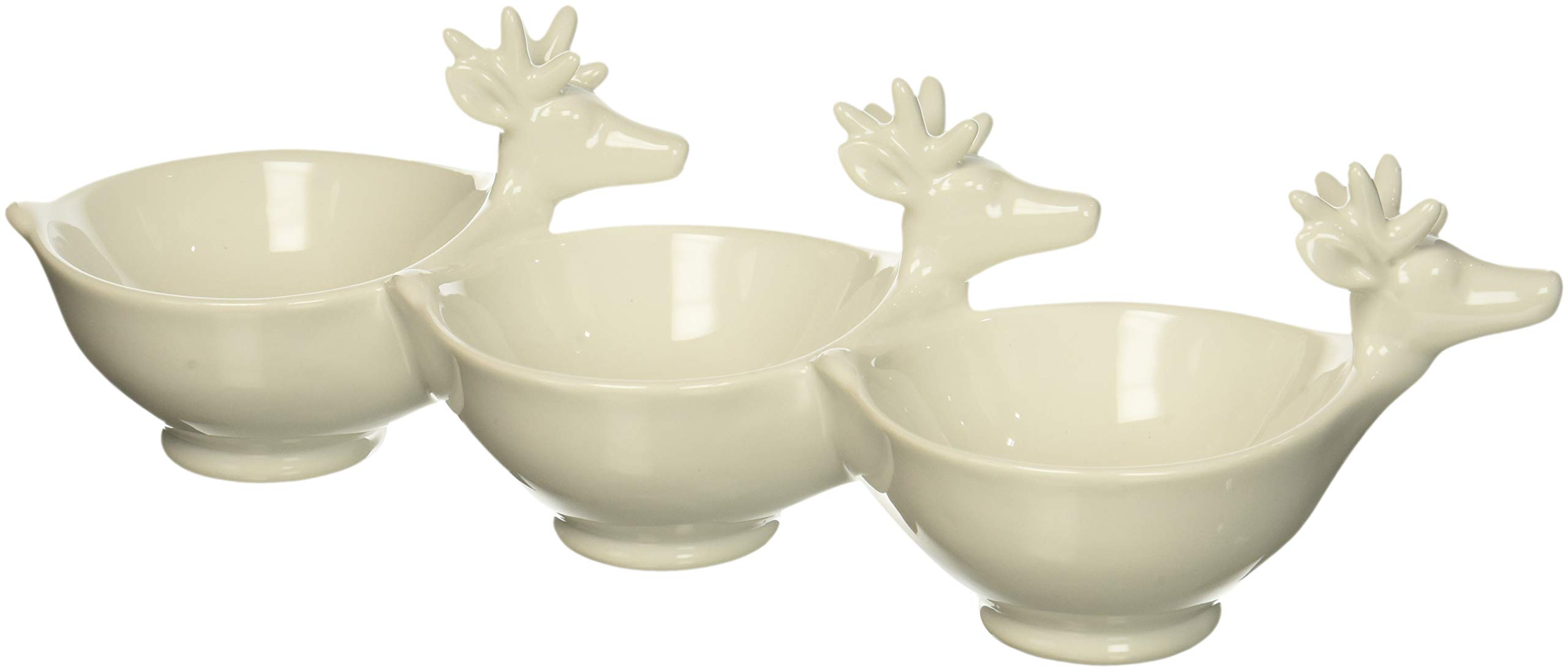Creative Co-Op 14.5''L Ceramic 3 Compartment White Bowl with Deer Heads, Multicolor