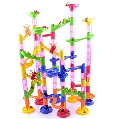 PandaBiu161858Pcs DIY Building Blocks Track Run Race Tower Marble Ball Construction Toys