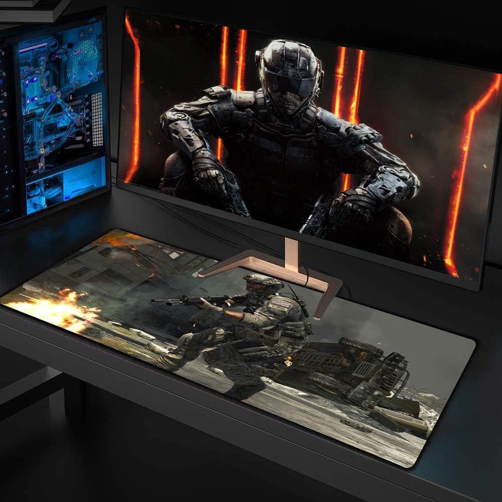 CAERTU muismat, grote muismat, bureaumat groot formaat, antislip rubberen basis, toetsenbord pad, voor PC/Laptop/Desktop, 900X400X3mm XXL, Super vermogen H Super power P