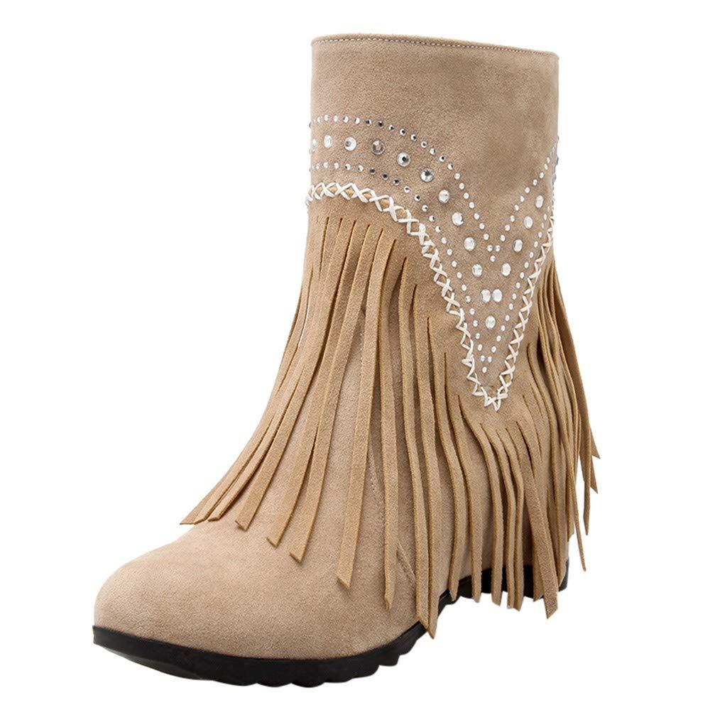Shusuen Fringe Ankle Boot Western Cowboy Bootie Women Retro Ankle Boots Khaki by Shusuen_Shoes