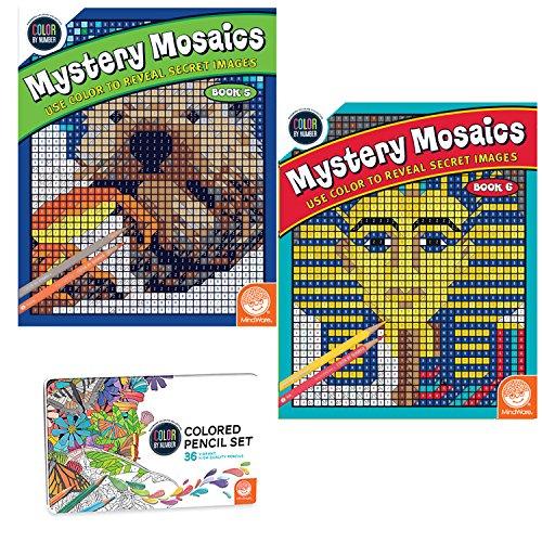 MindWare Color Number Mystery Mosaics Set: Books 5-6 pencils