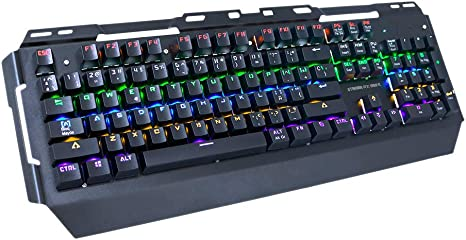 Woxter Stinger RX 1000 K - Teclado Gaming Mecánico, Estructura de Aluminio, Retroiluminado, 104 Teclas Anti-Ghosting, Cable de Nylon,