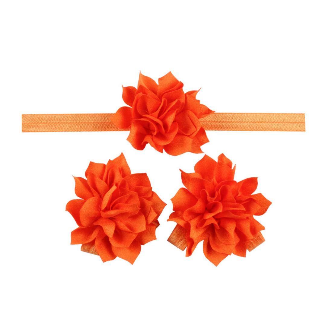 Jinjiums baby hairband,Baby Girls Toddler Children's Lotus Flower headsuit Hairband Headband Flower Barefoot Sandal (Orange)