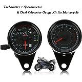 KKmoon 12V Motorrad 13000rpm Tachometer Km/h Tacho Dual Kilometerzähler Messgerät mit LED-Backlight-Signalleuchten