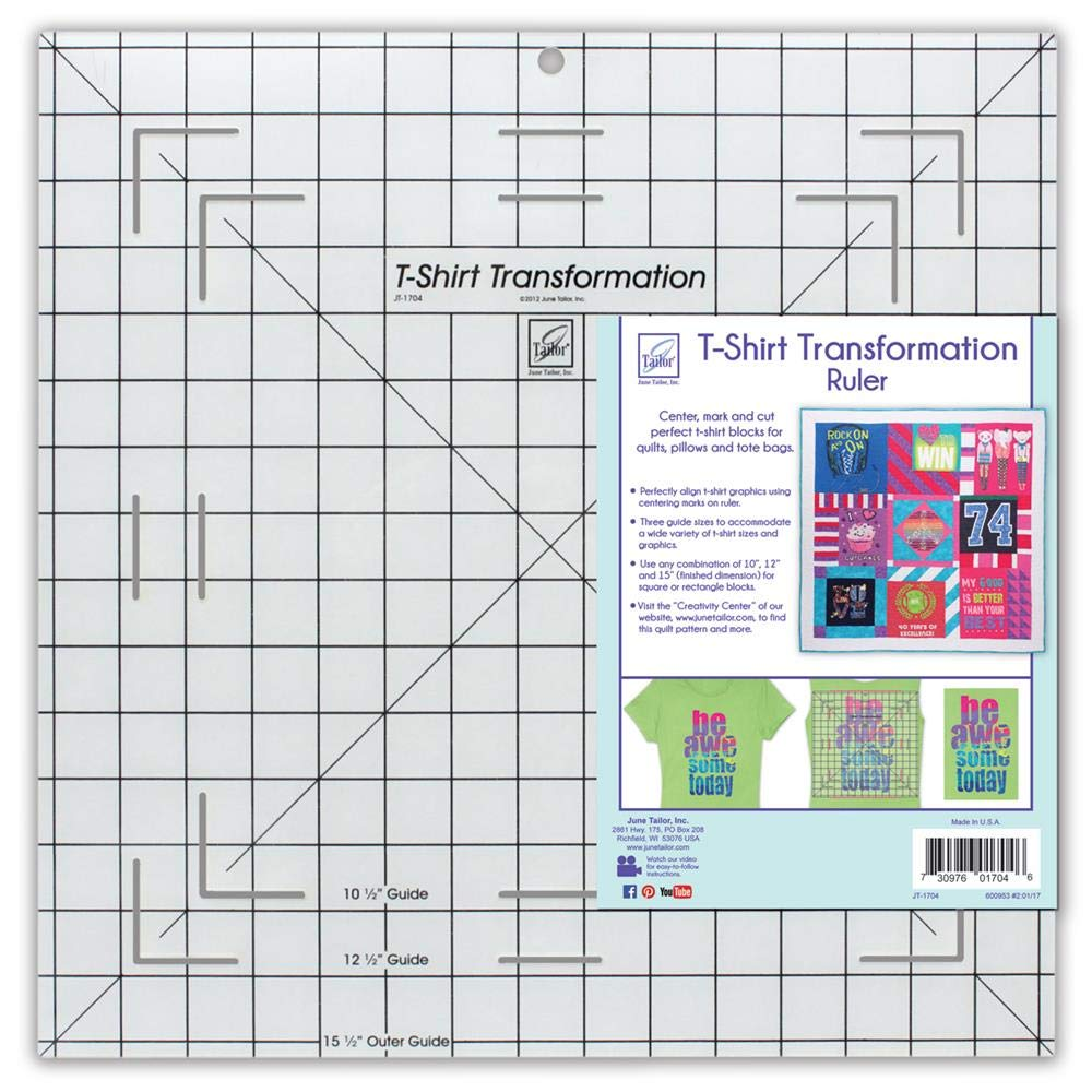 June Tailor T-Shirt Transformation Ruler, 15-1/2 by 15-1/2-Inch by June Tailor