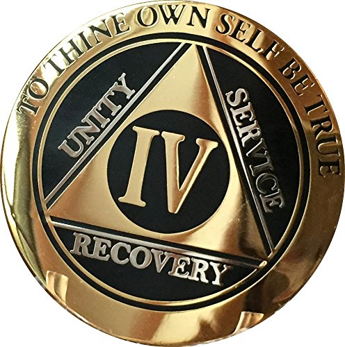 RecoveryChip 4 Year AA Medallion Elegant Black Gold Silver Bi-Plated Alcoholics Anonymous Sobriety Chip