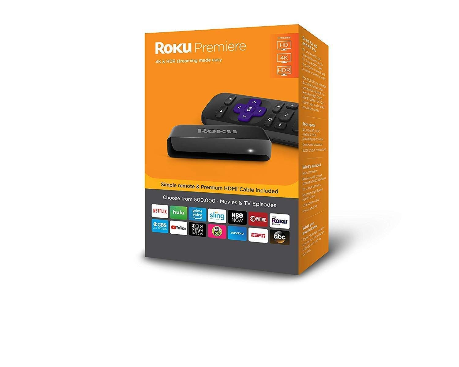 Roku Premiere HD/4K/HDR Streaming Media Player Includes Simple Remote and Premium HDMI Cable by Roku