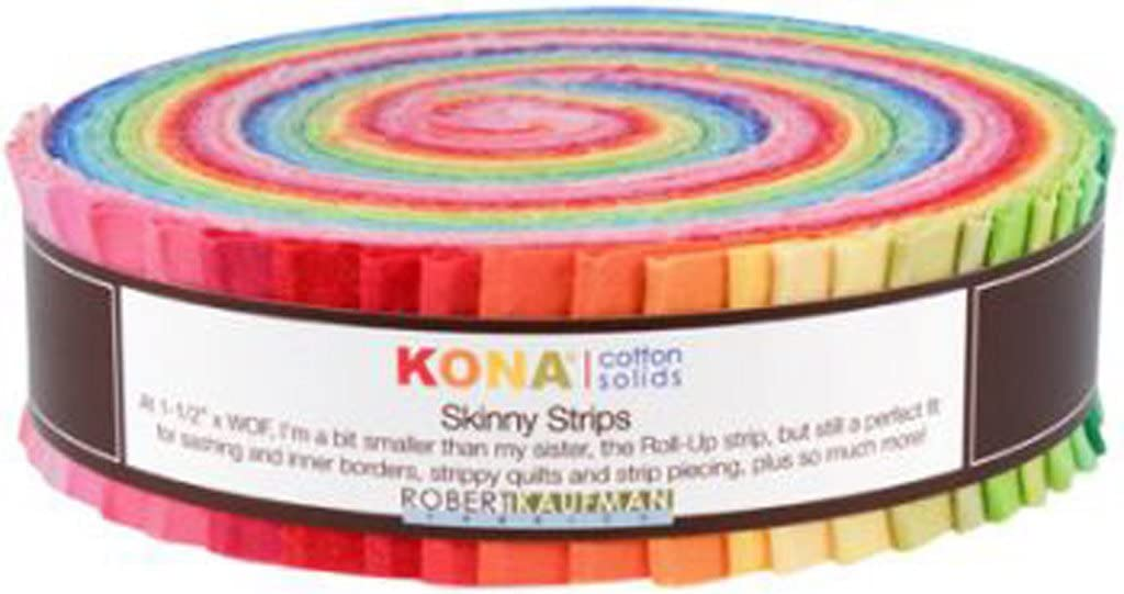 Robert Kaufman KONA COTTON SOLIDS BRIGHT Skinny Strips 1.5