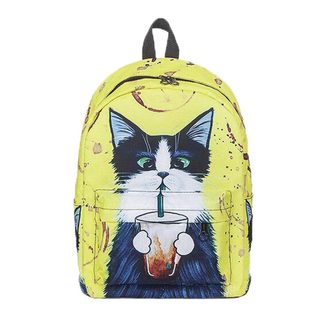 Amazon.com  Gallity Women Girl s Cute Cat Backpack School Backpacks Girls Funny  Cats Canvas Shoulder Bag (Yellow)  Toys   Games 18a6f08f275a0