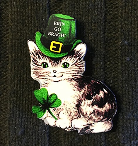 - St Patrick's Day Kitty Pin Brooch, Handcrafted Wood, Irish Cat Magnet, Jewelry, March 17, Green Hat, 1950s Decor, Shamrock, Ornament