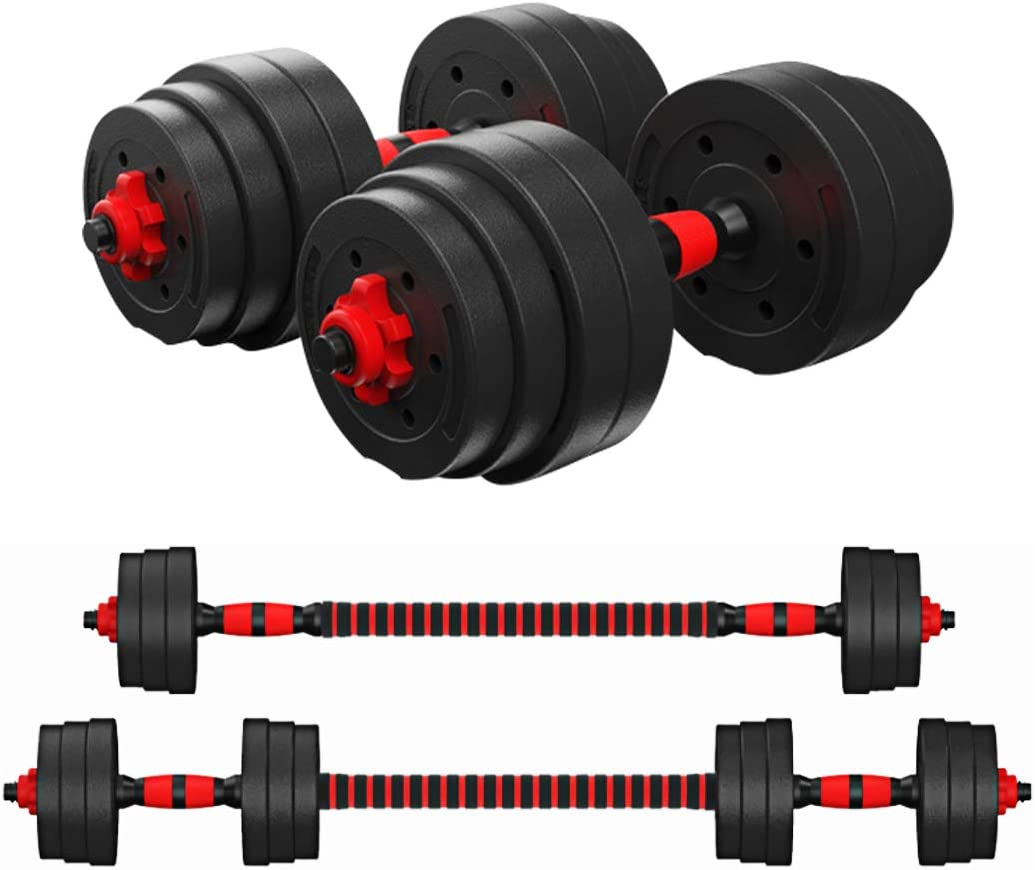 KAC Adjustable Dumbbells Barbell 2 in 1 with Connector, Lifting Dumbells for Body Workout Home Gym, Set of 2