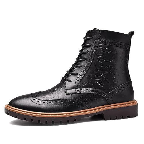 LYZGF Hombres Invierno Broch Botines Moda Casual Botas De Caballero Juventud Encaje Botas De Cuero: Amazon.es: Zapatos y complementos