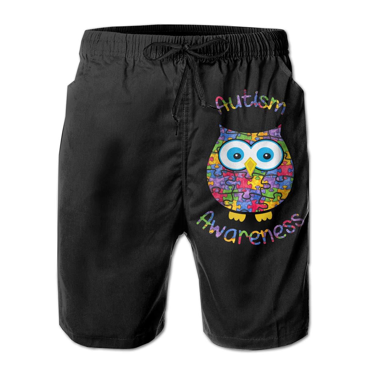 Autism Awareness Owl-1 Mens Beach Board Shorts Drawstring Bathing Suit