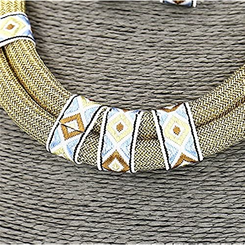 #1386 Fashion Jewelry Long Fabric Beige Collar Necklace and Earrings Set For Women
