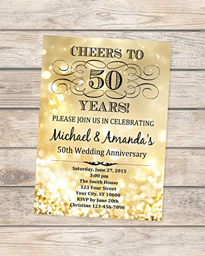 (50th Golden Wedding Anniversary Invitation, Gold Sparkle 50th Anniversary Invitation, Gold Bokeh Anniversary Invite, Cheers to 50 Years)