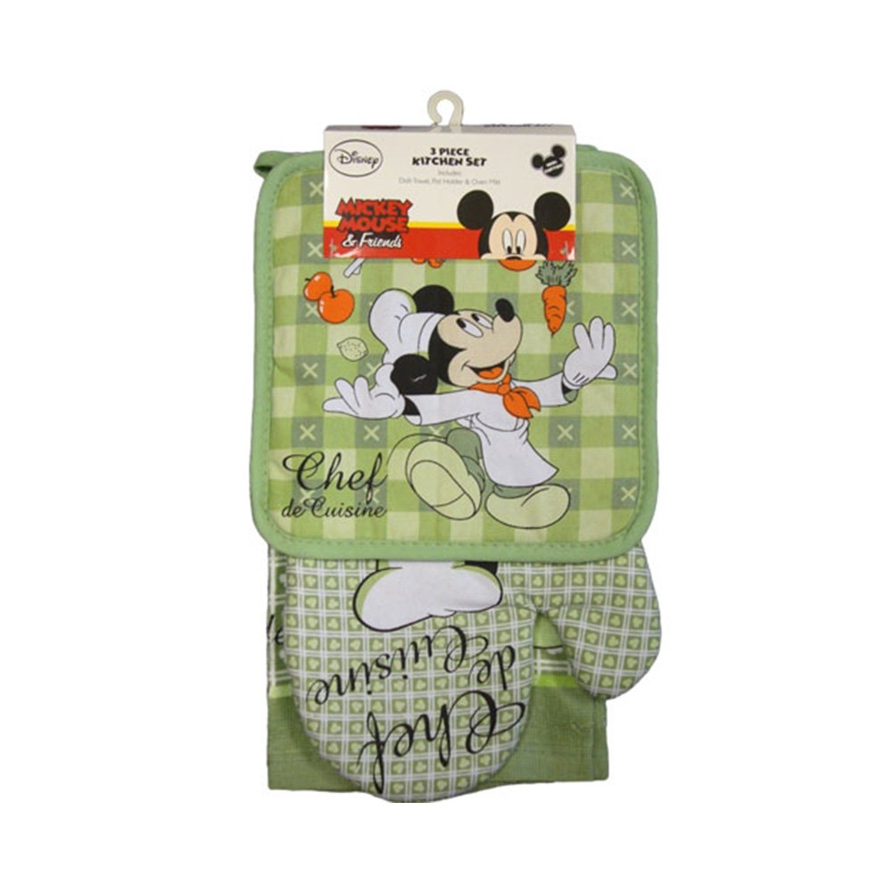 Disney Oven Mitt Pot Holder & Dish Towel 3 pc Kitchen Set (Mickey Mouse Green)
