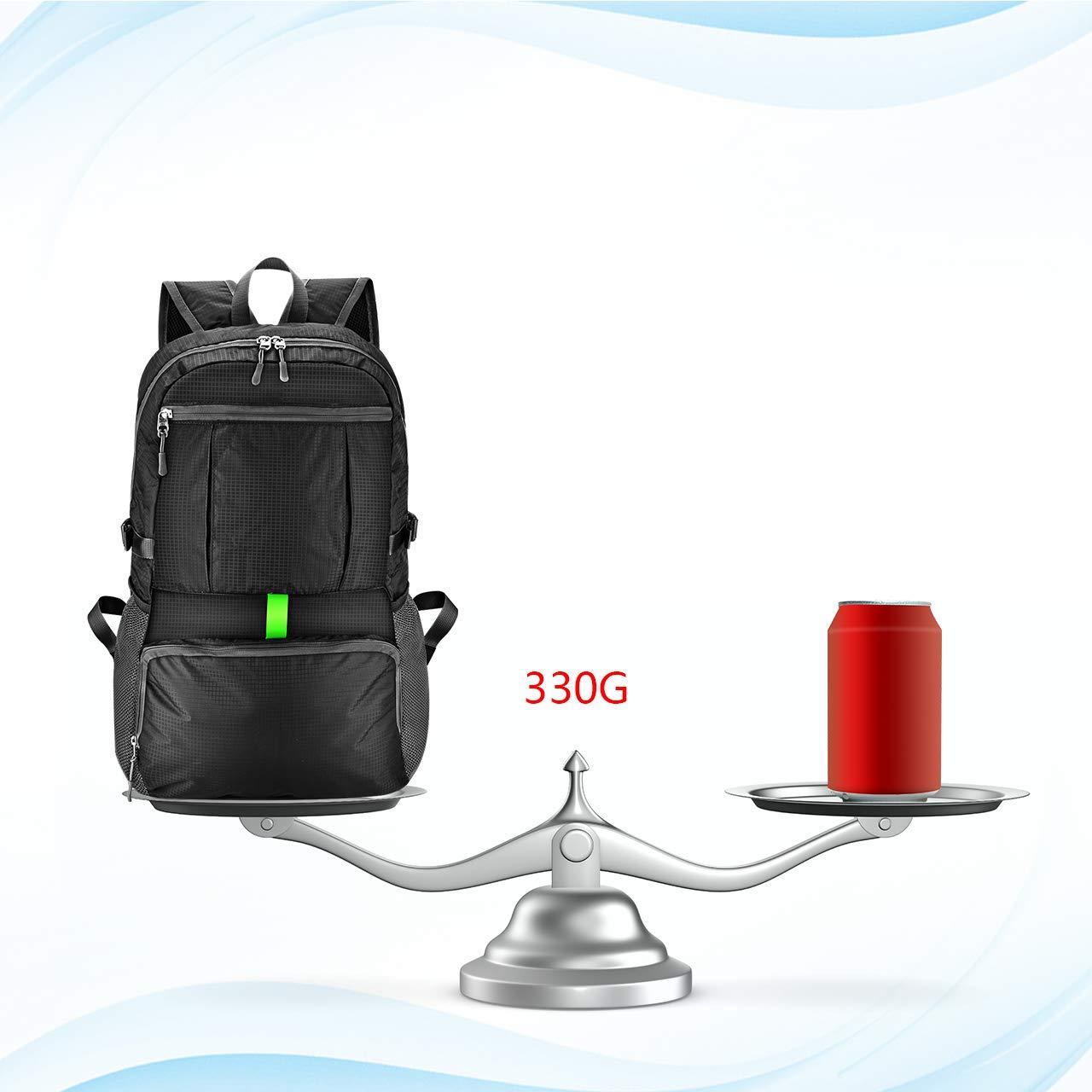 OMORC 30L Sac /à Dos de Randonn/ée Durable Ultra-L/éger Sac /à Dos de Voyage Imperm/éable R/ésistant /à lusure Sac /à Dos Pliable Double Zip Multi-Poche Gris