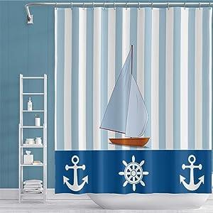 YongFoto Nautical Shower Curtain Sailboat Anchor Rudder Blue White Vertical Stripe Shower Curtain for Bathroom Decor Fabric Bath Curtain Sets 70x72 Inches