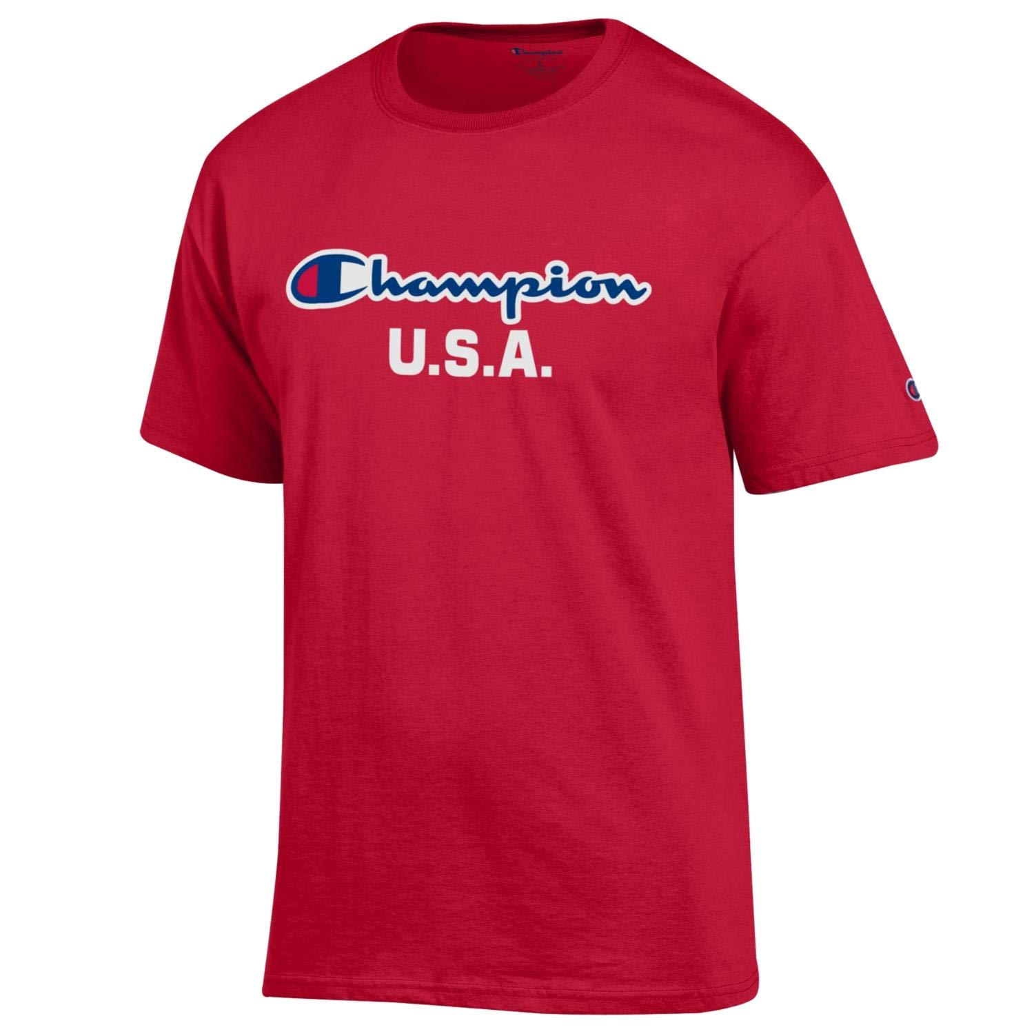 Champion Men's USA/Military Collection-Air Force, Army, Marines-Cotton T-Shirt (X-Large, USA/Red Script Over U.S.A.)