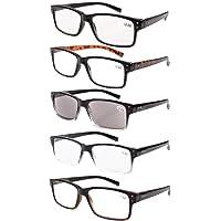 Eyekepper 5-Pack Bisagras de resorte Vintage hombres gafas de lectura incluye sol lectores +2.0