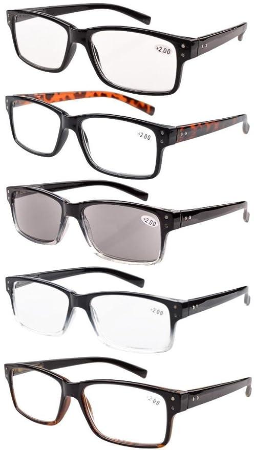 29773e685288 Eyekepper 5-pack Spring Hinges Vintage Reading Glasses Men Includes  Sunshine Readers +1.50
