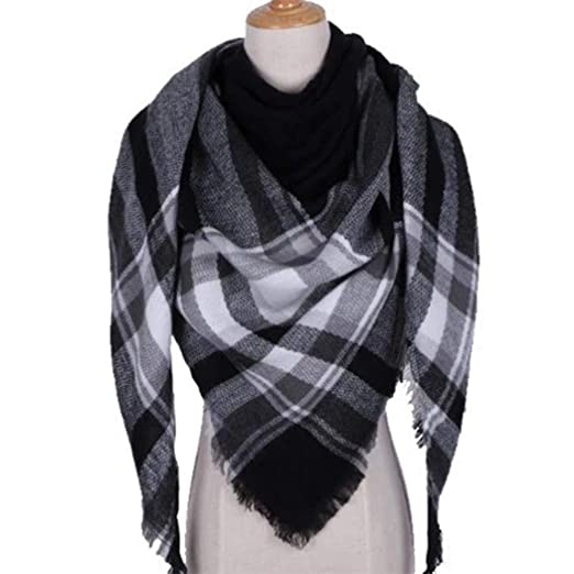 82e5613cd16 Sasarh Women Casual Plaid Tassel Shawl Blanket Scarf Scarves Cold ...