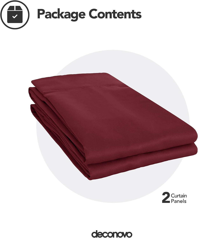 Deconovo Cortinas Opacas con Aislamiento T/érmico para Habitacion Ventanas con Ollados 2 Piezas 107 x 138 cm Rojo Oscuro