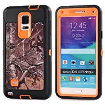 MOONCASE Galaxy Note 4 Case, [Realtree Camo Series] 3 Layers Heavy Duty Defender Hybrid Soft TPU +PC Bumper Triple Shockproof Drop Resistance Protective Case Cover for Samsung Galaxy Note 4 -Orange Tree