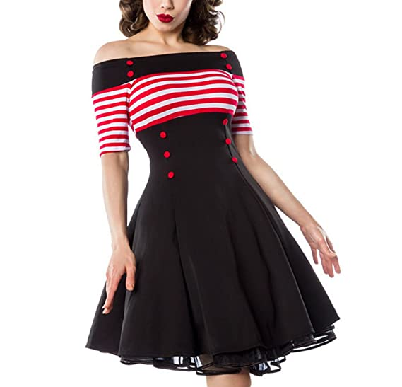 Amazon Bardot Striped Black Red And White Vintage Style Flare