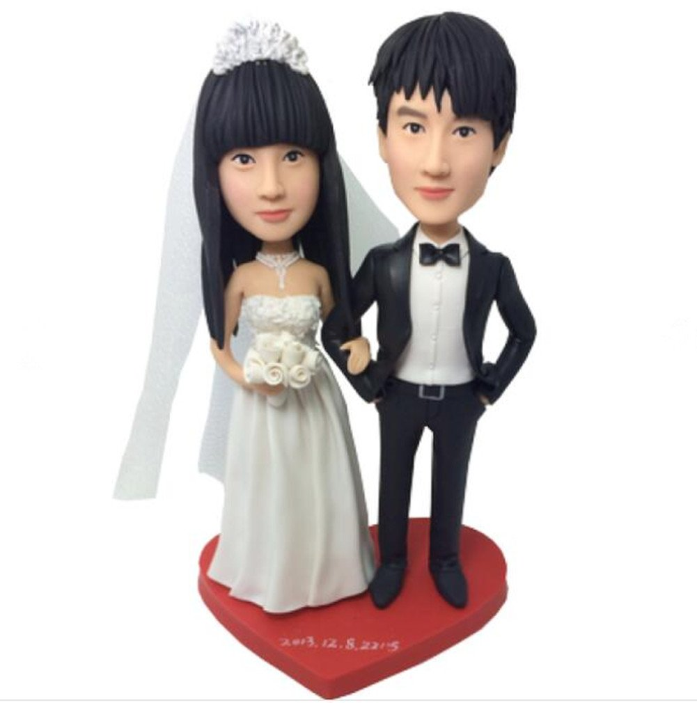 Custom Handsome and Beauty Wedding Bobbleheads Polymer Clay Bobbleheads Cake Toppers