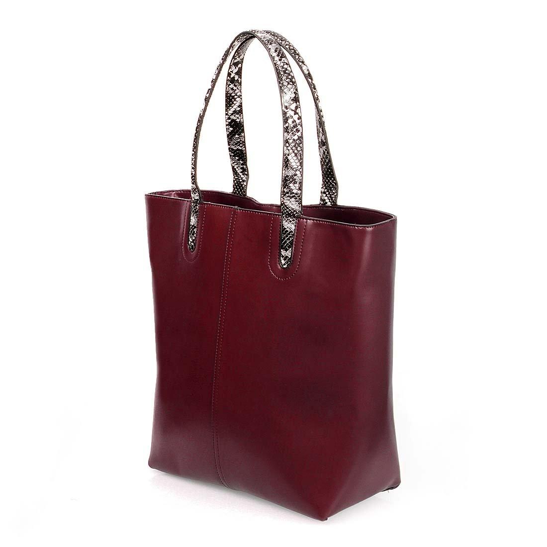 9c9367fd4e BMC Womens Wine Red PU Leather Faux Snakeskin Top Handle Fashion Tote  Canvas Purse Handbag Set  Amazon.co.uk  Shoes   Bags