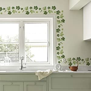 Ivy Wall Decals Vines Border PVC Wall Stickers for Kitchen Living Room Decorations (4 Sheets)