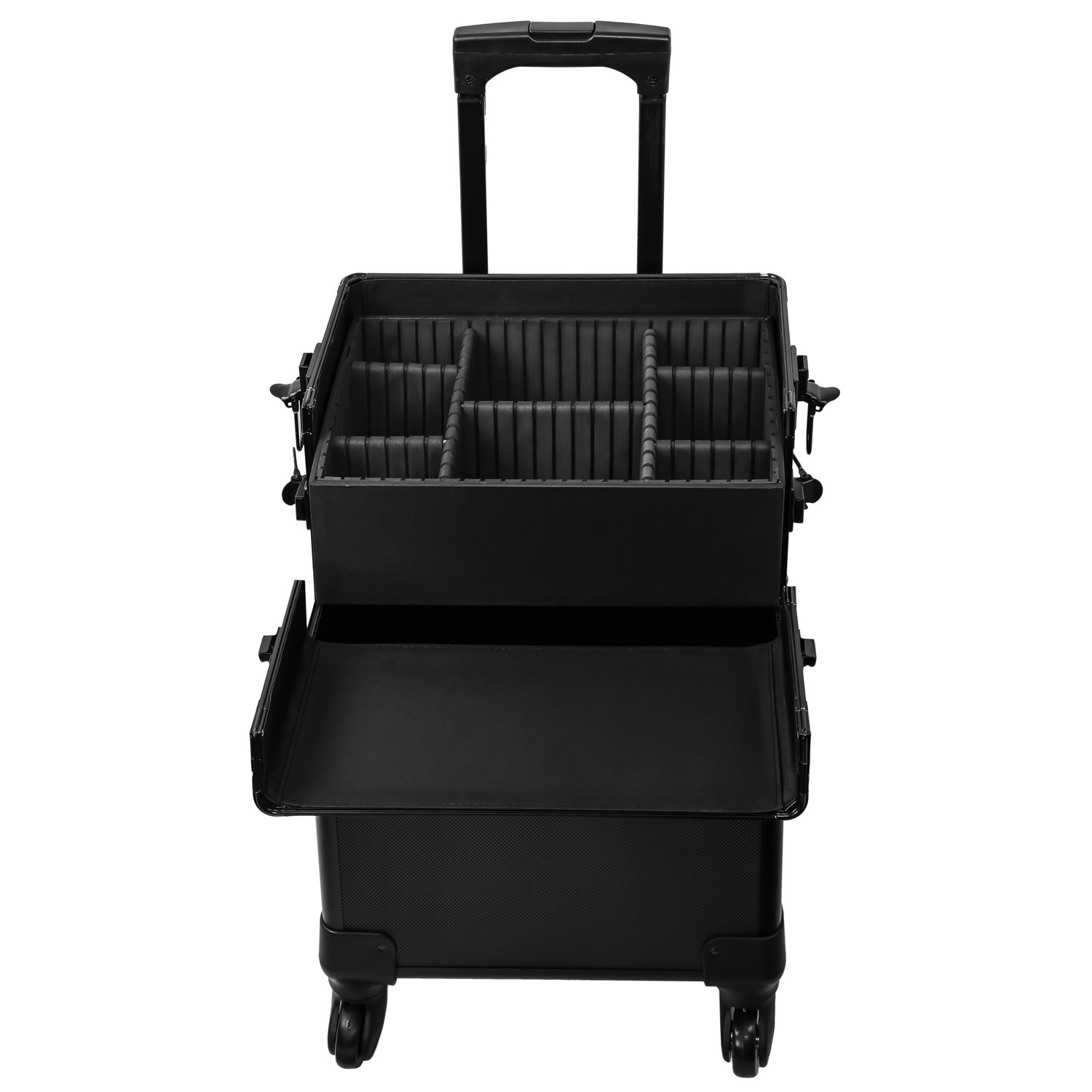 Koval Inc. 4-wheel Rolling 2in1 Makeup Train Cosmetic Case Black by KOVAL INC. (Image #9)
