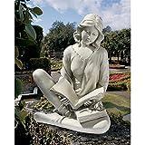 Cheap Design Toscano Reflection Reader Garden Girl Statue, Antique Stone